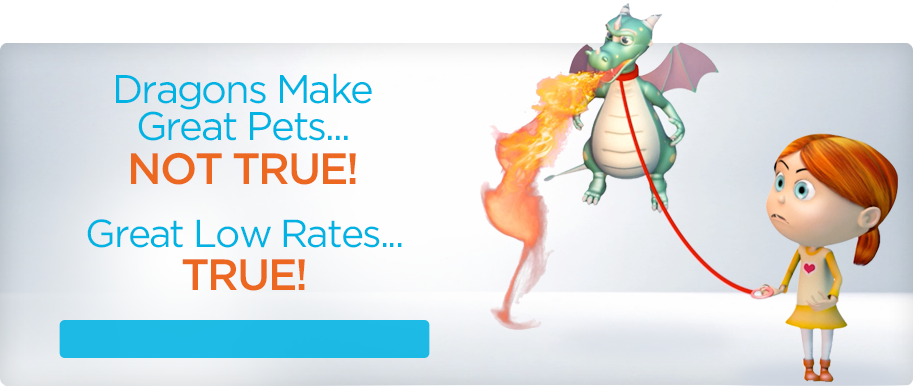 Dragons make Great Pets... Not True. Great Low Rates...TRUE!